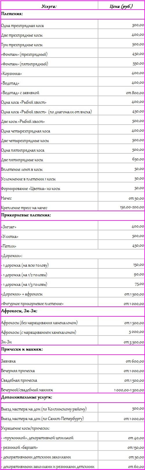 Стоимость услуг студии Ажур
